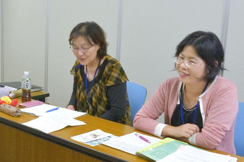 子育て支援課 古田さん(右)と「南千里保育園」園長 野口さん(左)