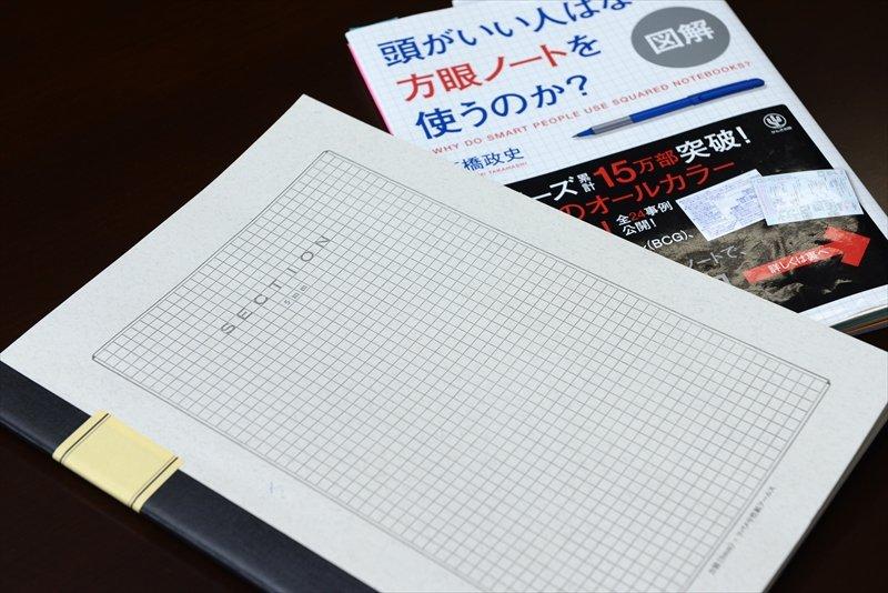 実際に生徒たちが使用している方眼ノートと参考書