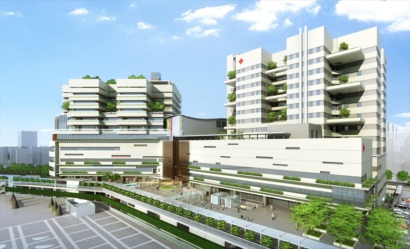 埼玉県立小児医療センター 新病院(左)、さいたま赤十字病院(右)