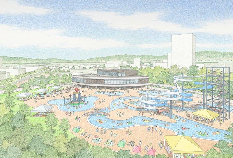 「原山公園」外観パース(屋外プール等施設)