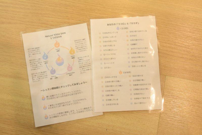 オリジナルプログラム「SHIN-癒-」で使われるセルフチェック表