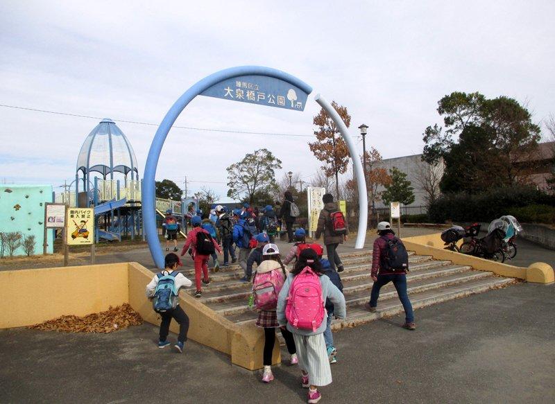 ターザンロープなどアスレチック遊具のある、大泉橋戸公園