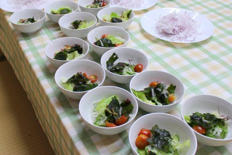 新鮮なレタス、トマト、わかめのサラダ