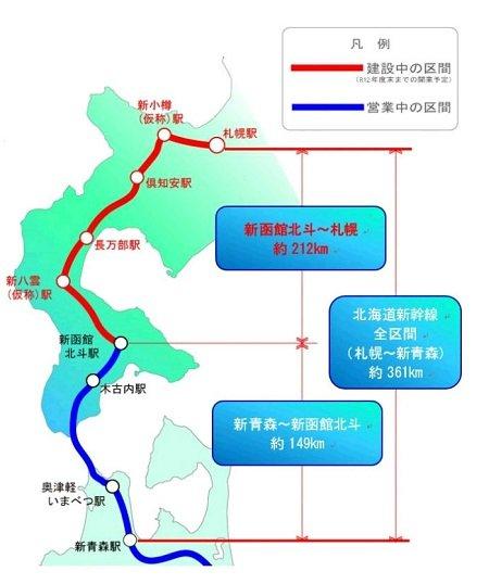 札幌新幹線の延伸計画(札幌市役所提供)