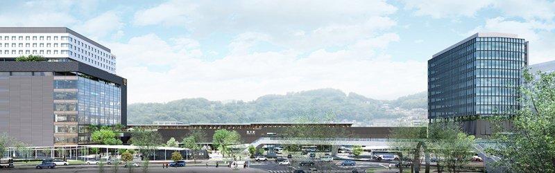 「熊本駅ビル」(左)、「熊本駅北ビル」(右) 完成予想図(提供:九州旅客鉄道株式会社)