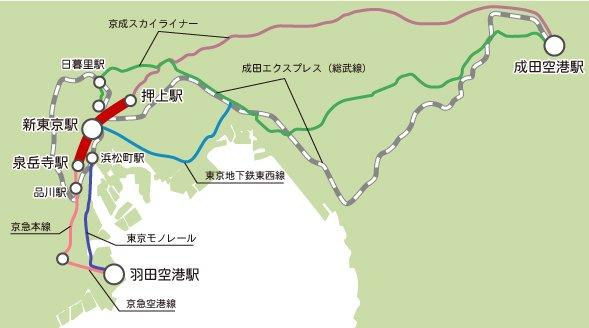 成田と羽田、両国際空港と東京駅を直結する「都心連絡線」構想
