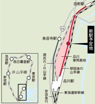 山手線新駅予定地イメージ図