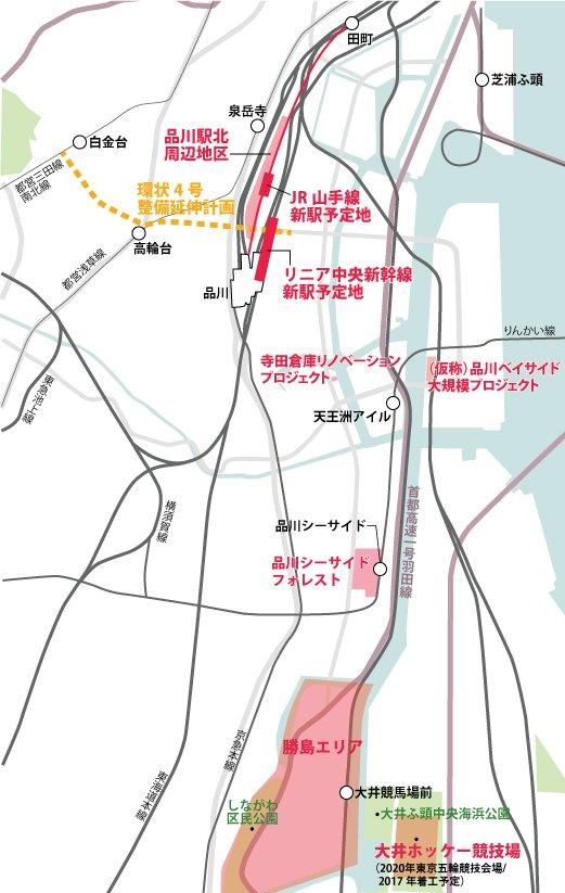品川~勝島エリアの開発計画の位置図