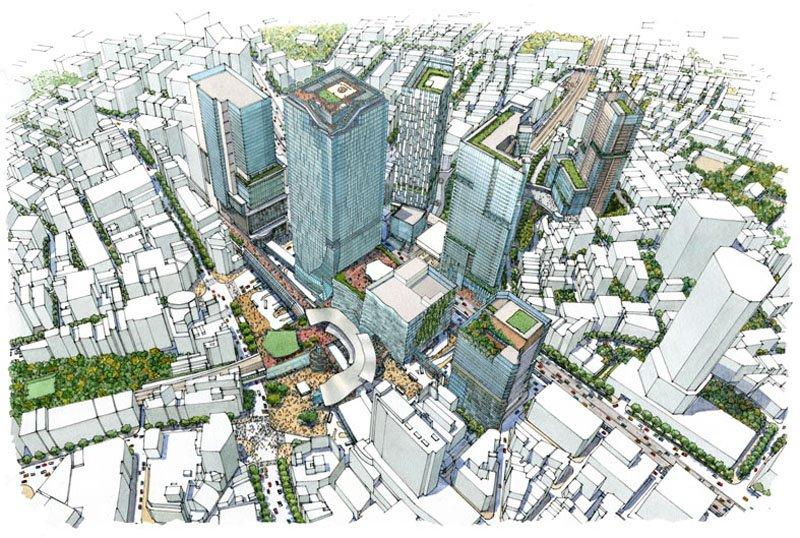 「渋谷」駅周辺再開発のイメージ図