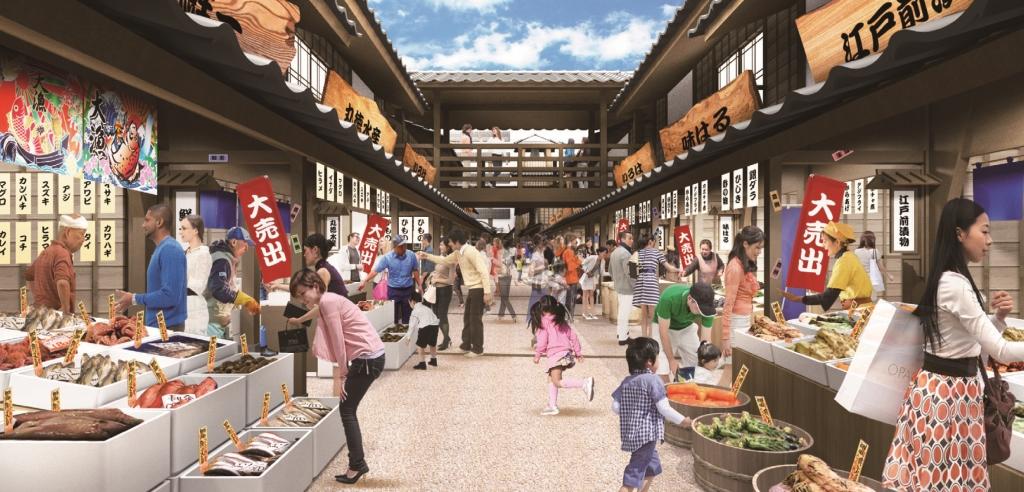 江戸の街並みを再現したオープンモール