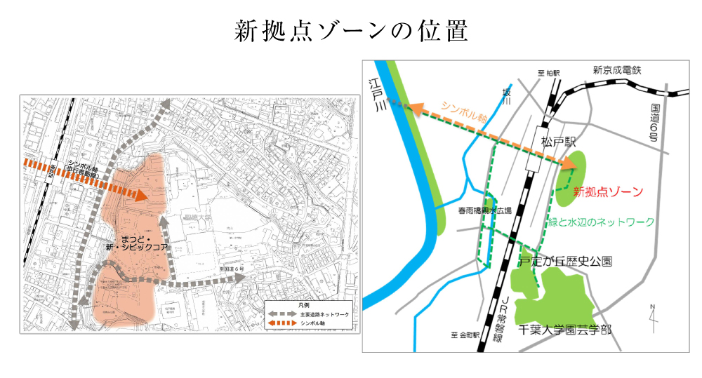 新拠点ゾーンの位置(引用:松戸市HP)