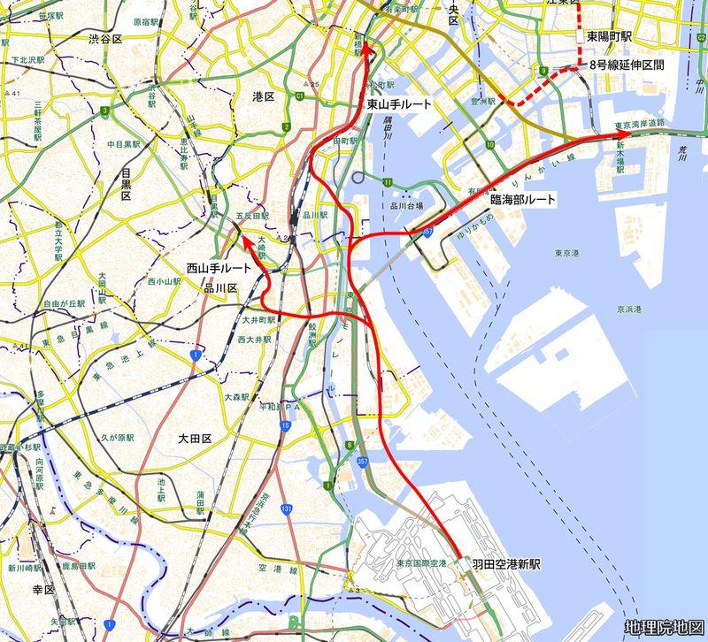 羽田空港アクセス線の計画路線