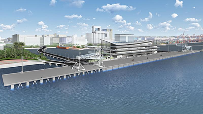 「東京国際クルーズターミナル」の名称が発表された東京・青海に整備中の新客船ターミナルのイメージ
