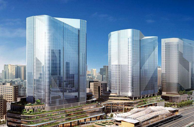 港南側から高輪ゲートウェイ駅・4街区および3街区建物を望む(引用:JR東日本)