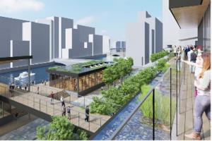 日本橋川や橋を見渡す重層的な広場空間を創出